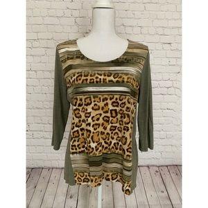 CHICO's Leopard Knit Top M